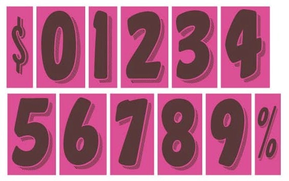 7.5 in. HOT PINK & BLACK WINDSHIELD NUMBERS