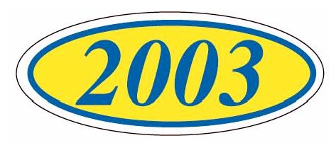 EURO STYLE OVAL YEAR MODEL SIGNS - BLUE & YELLOW